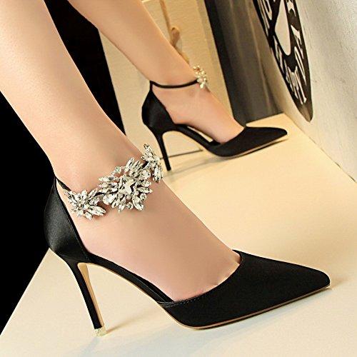 Xing Lin Zapatos De Verano Para Las Mujeres Cuñas La Nueva Noche De Verano Señaló Tacones Finos Chica Con Agua De Perforación Sandalias De Amarre Ranurada Marea Black