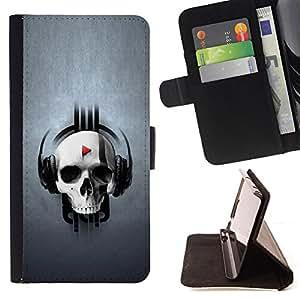 BullDog Case - FOR/LG OPTIMUS L90 / - / SKULL MUSIC PLAY /- Monedero de cuero de la PU Llevar cubierta de la caja con el ID Credit Card Slots Flip funda de cuer