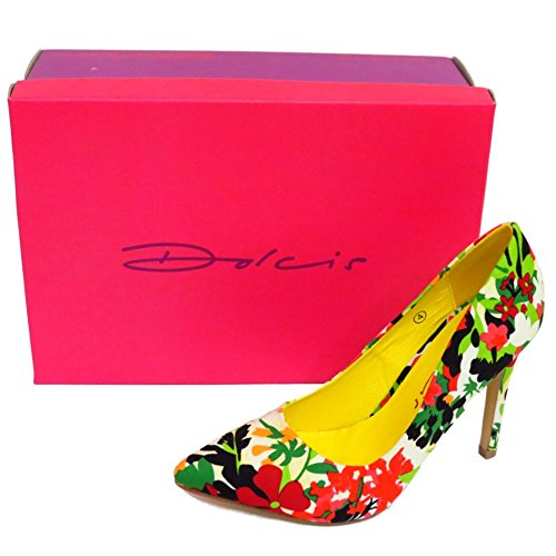 Ladies Dolcis Green Floral Slip-On Stiletto High Heel Pointed Court Shoes UK 3-8 qLVFQ