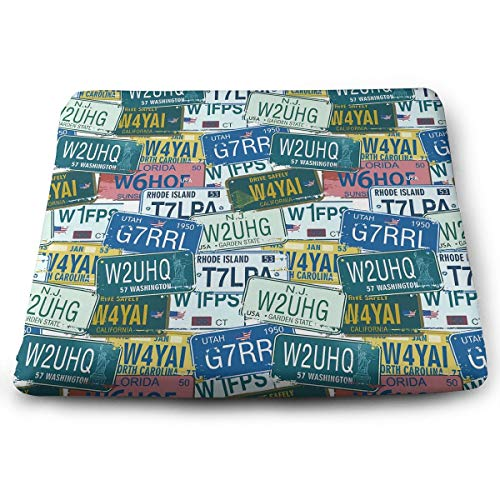 (Comfortable Seat Cushion Print Retro American Auto License Plates Utah Washington Rhode Island - Memory Foam Filled for Outdoor Patio Furniture Garden Home Office)