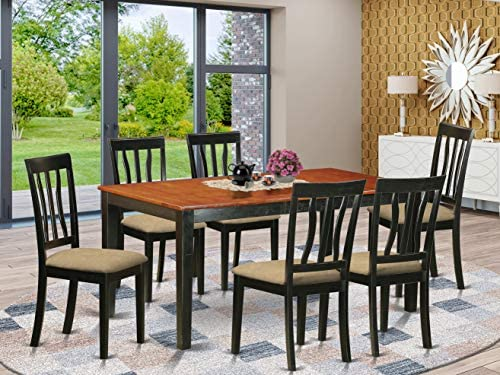 East West Furniture NIAN7-BCH-C 7-Piece Kitchen Dining Room Set 6 Dining Room Chairs and Dining Room Table Rectangular Table Top Slatted Back and Linen Fabric Chair Seat Black Cherry Finish