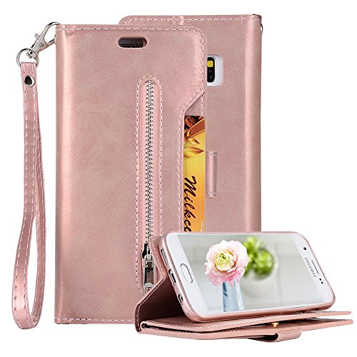 Price comparison product image PU Leather Zipper Wallet Case for Samsung Galaxy S7 Edge, Aearl Multi-functional Handbag Pocket Stand Magnetic Cover Inner Soft TPU Case Card Holder Wrist Strap for Samsung Galaxy S7 Edge - Rose Gold