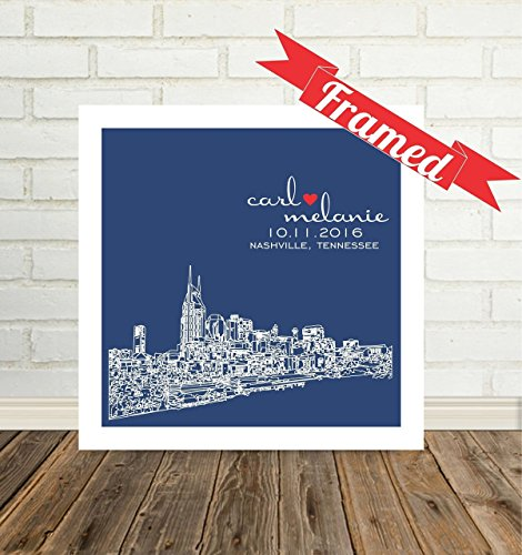 Nashville Skyline Personalized Wedding Gift for Couple City Skyline Framed Any City Available WORLDWIDE Nashville Tennessee