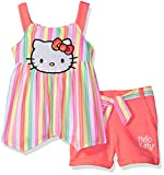 Hello Kitty Big Girls' Short Set with Embellished Fashion Top, Multi-Color, 10