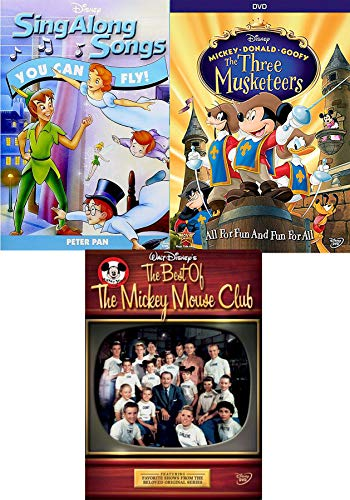 Swashbuckling adventure 3 Pack Disney's Three Musketeers / Peter Pan Sing Along Songs You Can Fly + Best of the Mickey Mouse Club DVD fun Family set (Sing Along Songs You Can Fly)