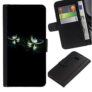 Billetera de Cuero Caso del tirón Titular de la tarjeta Carcasa Funda del zurriago para HTC One M8 / Business Style Universe Pearls Minimalist Black