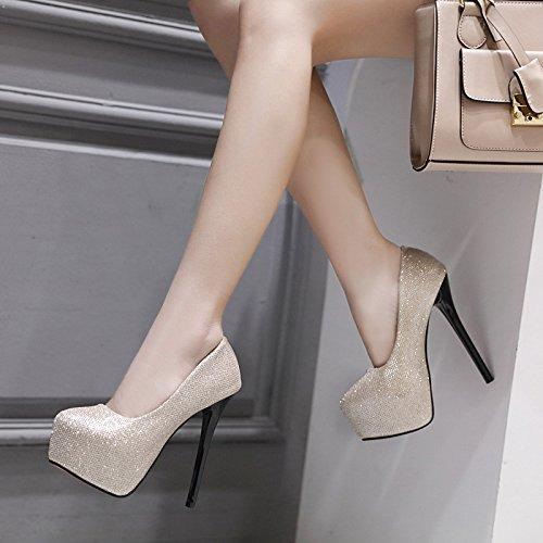 RUGAI UE super di calzatura black notte singola moda vento negozio singola alto rotonda testa tacco calzatura Donna il rrw4qYd