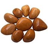 Prisha Decorative Yellow Jasper Pebbles, Stones,Glossy Stones for Home Decor, Garden, Vase Filler, 2.2 Pounds