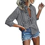 Toponly blusa con cuello en V para mujer, cuello redondo, con cordones, media manga