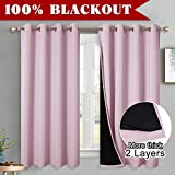 PONY DANCE Pink Blackout Curtains - 100% Blackout Curtain Set with Liner for Girls Gift Room Darkening Sound Proof Window Treatment for Baby's Good Sleep, 1 Pair, W 52' x D 63', Baby Pink