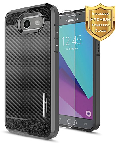 ase, Galaxy J3 2017 Case(J327), Galaxy J3 Mission Case with [Tempered Glass Screen Protector], NageBee [Frost Clear] [Carbon Fiber] Slim Soft TPU Rubber Cover Case (Black) ()