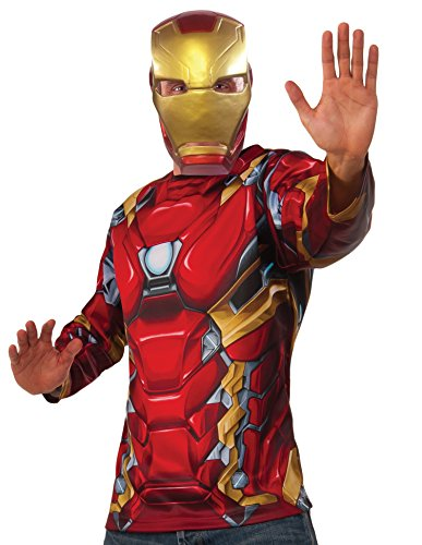 [Captain America: Civil War Iron Man Costume Top and Mask, Multi, Standard] (Iron Man Shirt And Mask Costumes)