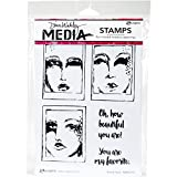 Ranger Dina Wakley Media Cling Stamps Boxed Faces (4 Pack)