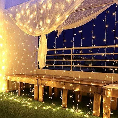 Yinuo Mirror Tenda Luminosa Led 6×3㎡, Luci di Natale Interno Esterno Impermeabilità IP44 con 600LEDs, 8 Modalità di Illuminazione per Natale, Interno, Camera da Letto, Giardino, Bianco Caldo