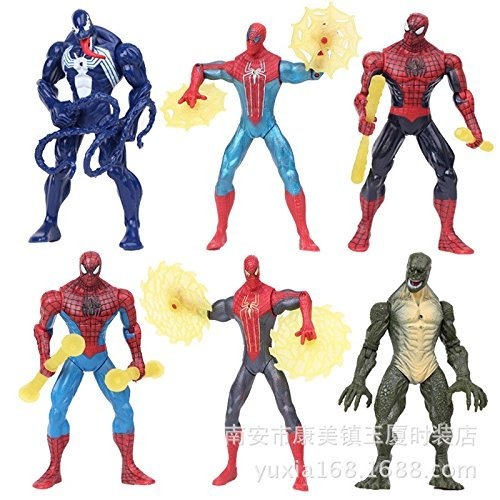 2015 Genuine Spiderman 3D doll model, Figure pvc toy 12cm Spiderman with light Kids Child Toys (Spider Man Noir Costume)