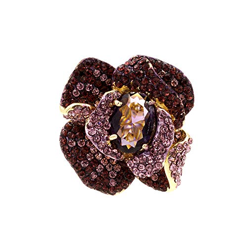 (Lavencious Flower Shape CZ & Rhinestone Cocktail Stretch Ring Party Ring for Women (Purple) )