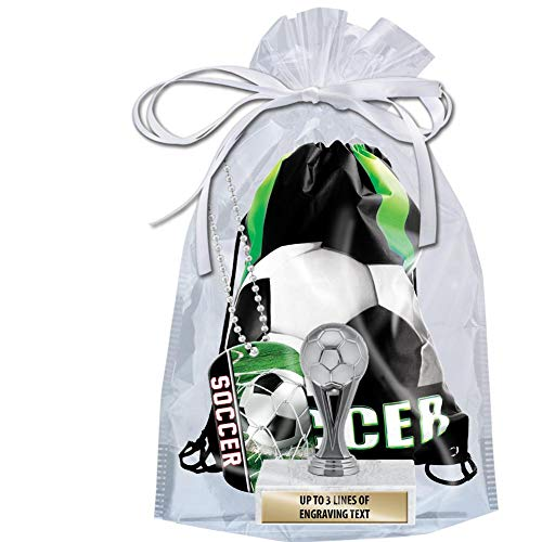 Crown Awards Soccer Goodie Bags, Soccer Favors for Soccer Themed Party Supplies Comes with Personalized Silver Kids Soccer Trophy, Soccer Dog Tag and Soccer Drawstring 20 Pack by Crown Awards (Image #1)