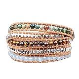 New! Genuine Leather Bracelet Multi Colors Beads Wrap Bracelet Nice Gift! (5 Wraps, alloy bead, india agate, tiger eye, jade)