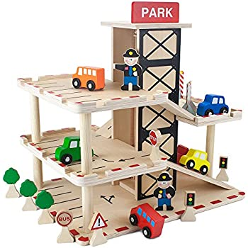 Amazoncom Melissa Doug Deluxe Wooden Parking Garage Play Set