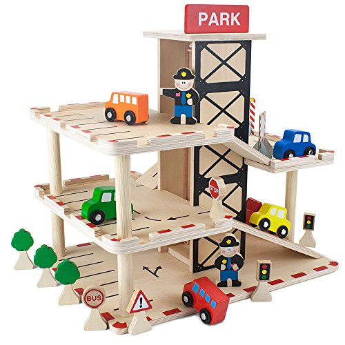 - Imagination Generation Downtown Deluxe Wooden Parking Garage Ramp & Service Station Playset with Elevator, Signs & Accessories for Mini Toy Cars (19 pcs)