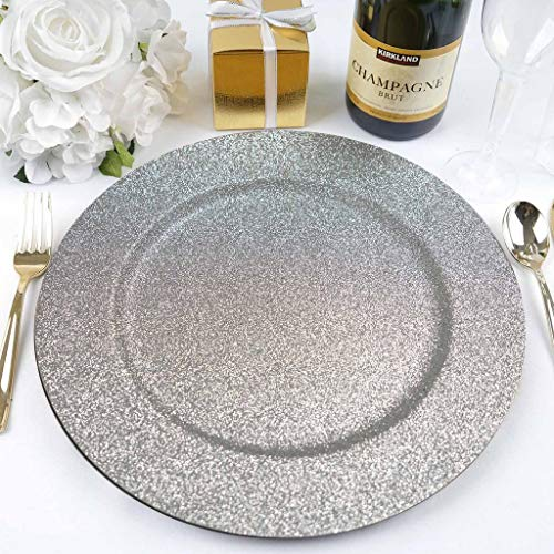 BalsaCircle 6 pcs 13-Inch Silver Glitter Round Charger Plates - Dinner Wedding Supplies for all Holidays Decorations