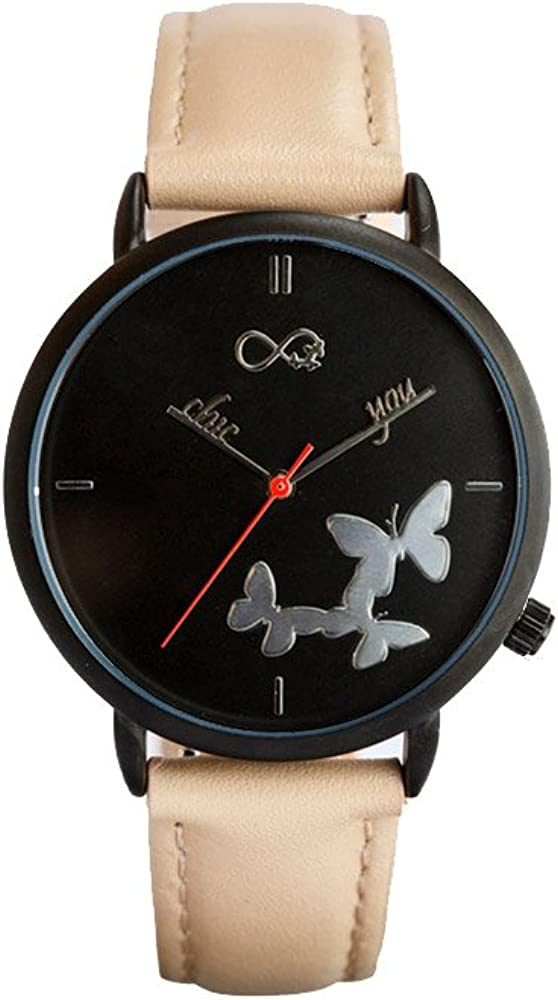 Reloj de Mujer Coffee Sweet by Chic You: Correa de Piel Genuina Color Crema con Costuras, con Esfera de Fondo Negro, manecillas Personalizadas Chic you y Mariposas e índices en Relieve Efecto Espejo