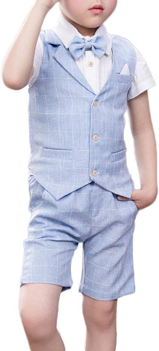Traje - para Niño Boda Niño Traje De Página, Chaleco + Camisas + Pantalones Cortos 3 Piezas: Amazon.es: Ropa y accesorios