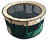 Pet Puppy Dog Playpen Kennel – Portable Indoor Outdoor Exercise Pen – Soft Sided Play Yard – Sturdy Steel Frame with Carry Bag