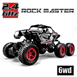 Hosim 6WD RC Rock Crawler, 1:14 Scale 2.4Ghz High Speed 20km/h RTR Off Road Truck Vehicle, All-Terrain 6x6 RC Buggy Climbing Car (Red)
