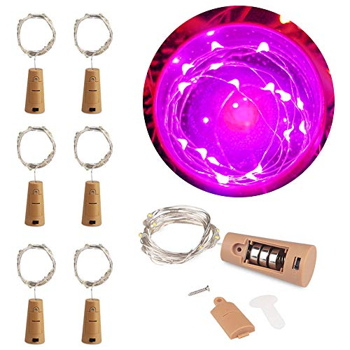 MOMO Set of 6 Pink Wine Bottle Cork Lights - 2m 20 LED Copper Wire Lights String Starry Battery Powered Fairy Lights for DIY, Party, Decor, Christmas, Halloween, Wedding or Mood Lights