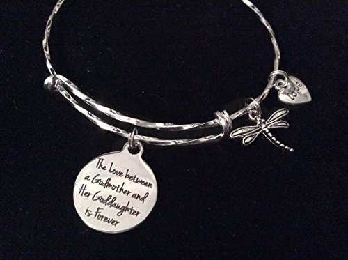 The Love Between a Godmother and Goddaughter is Forever Expandable Silver Charm Bracelet Gift