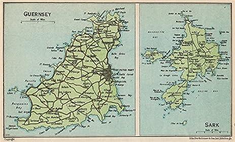 Amazoncom GUERNSEY SARK Vintage map plan Channel Islands St