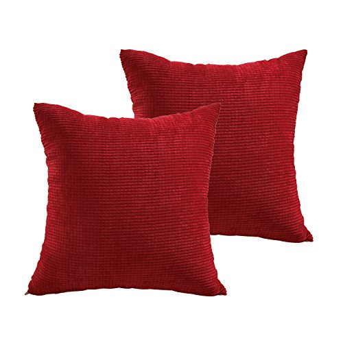 r Waterproof Throw Pillow Case Cushion Cover For Travel, Indoor, Outdoor, Rattan Sofa, Bed 18 x 18 inches (2 Pack, Red) (Rattan Pillow)