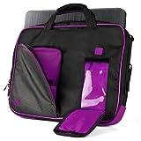 VanGoddy Pindar Sling – BLACK PURPLE PLUM Pro Deluxe Shoulder Messenger Carrying Bag for Apple MacBook Pro 13 Retina Display & Air 13 inch