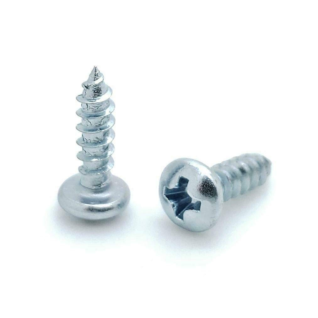 100 Qty #6 x 1//2 Zinc Phillips Pan Head Wood Screws Good Holding Power in Different Materials BCP385 - Durable and Sturdy