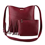 MIOIM Women's Mother And Child Bag Fringe Solid Color Cross Body Bag with Pouch