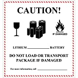 BOX USA BDL1397 Tape Logic Labels,Caution - Lithium Battery Handling, 4 5/8'' x 5'', Black/White/Red (Pack of 500)