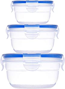 3Pack Baby Round Mixing Bowl Set, Nesting Bowls for Food Prep, Plastic Storage Mixing Bowls with Locking Lids, Serving Salad Bowl with Lid, BPA-FREE, Microwave Safe Containers