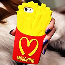 Go Crazzy Apple iPhone 5 5S 5C SE 5G 5SE Flexible Soft Silicone Gel Moschino French Fries Rubber Protective Cover Case for Apple iPhone 5 5S 5C SE 5G 5SE