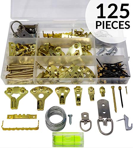 Picture Hanging Kit 125 pieces for Heavy Duty Pictures with Wall Mounting Nails Supports 10-100 lbs Hardware for Frames Includes: Screws, Nails, D Rings, Hooks, Wires,Sawtooth Hangers, Heavy Duty Hook