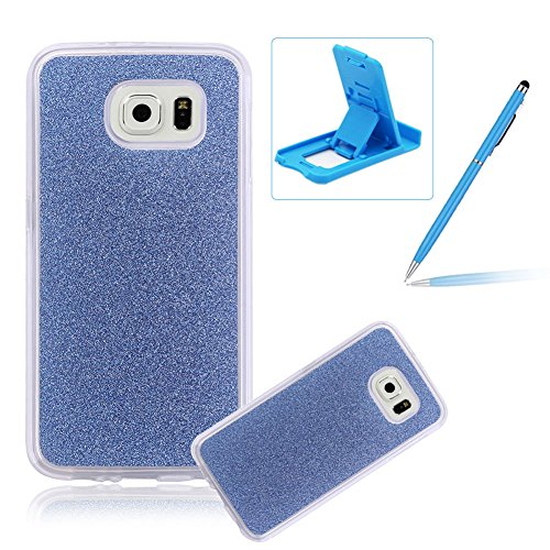 Cover for Samsung Galaxy S7 Edge,Rubber Case for Samsung Galaxy S7 Edge,Herzzer Super Slim [Dark Blue Gradient Color Changing] Dust Resistant Soft Flexible TPU Bling Glitter Protective Case