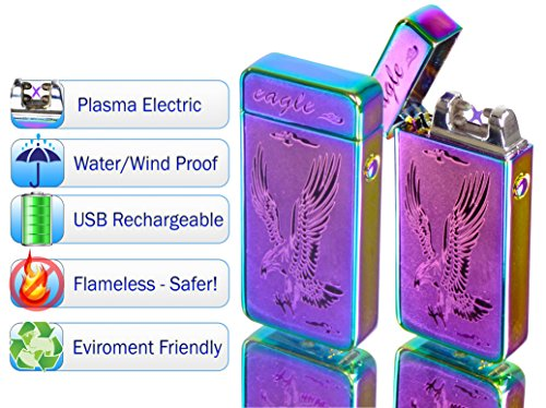 Tac Plasma Lighter Dual Arc Tactical Beam - USB Rechargable, Electric Windproof Splashproof Flameless Lighter, Butane Free Tactical Dual Arch - New Technology - Seen on TV (1pc, Chameleon Eagle)
