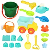 WTOR Beach Toys 19Pcs Soft Durable Sand Toys Set/Backyard Games/Shower Bath Play Water Toys Sets for Toddlers Kids Children Including Truck,Sand Bucket Sifter,Rake, Sand Shovel ect Set (19PCS)