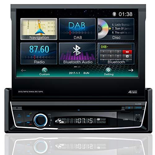 Tristan Auron bt1d7007 Auto Radio 7,0 pantalla táctil de la pantalla ausfahrbar Navi DAB/DAB + Bluetooth manos libres USB/SD Slot CD/DVD 1 DIN: Amazon.es: ...
