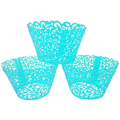 LEFVTM 24pcs Cupcake Wrapper Filigree Little Vine Lace Laser Cut Liner Baking Cup Muffin Case Trays Wraps Wedding Birthday Party Decoration Blue]()