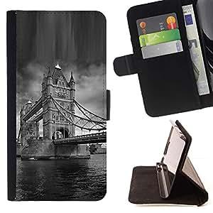 LG Magna / G4C / H525N H522Y H520N H502F H500F (G4 MINI,NOT FOR LG G4)Case , Arquitectura London Bridge Blanco y Negro- la tarjeta de Crédito Slots PU Funda de cuero Monedero caso cubierta de piel