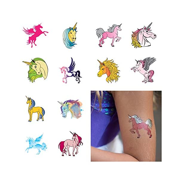 Unicorn Temporary Tattoos for Girls Best for Unicorn Party Supplies Party Favors and Unicorn Birthdays Beautiful Metallic Unicorn and Pegasus Tattoos By John & Judy 3