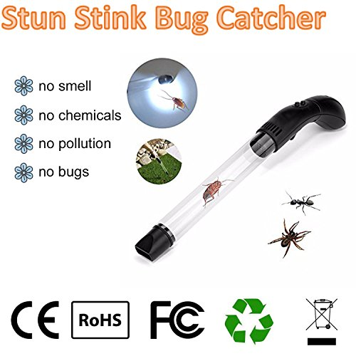 Rechargeable Bug Spider Catcher Long Handle - Insects Stink Bugs Bed bugs Spider Vacuum Catcher Sucker Pest Repellents Pest Control with LED Light USB Charger for Kids Reach to Corner Work at Night (Stink Long Bug)