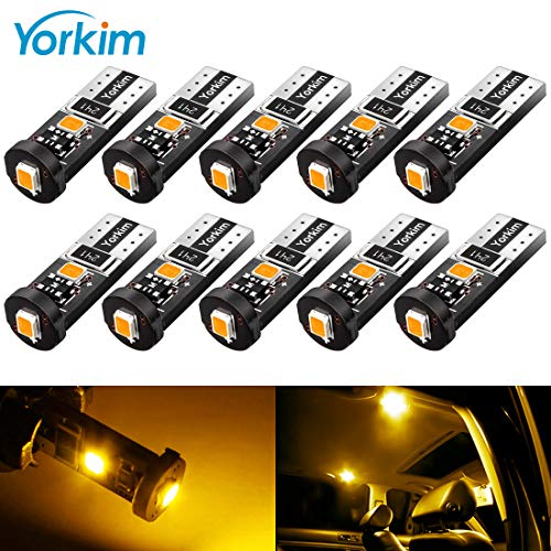 Cross Yellow Amber - Yorkim 194 Led Bulb Amber Canbus Error Free 3-SMD 2835 Chipsets, T10 Amber Interior Led For Car Dome Map Door Courtesy License Plate Trunk lights with 194 168 W5W 2825 Sockets Pack of 10, Yellow