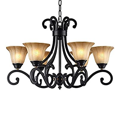 LNC Traditional Chandelier, 6-light Black Antique Pendant Lighting for Dining Room, Living Room, Restaurant, Bedroom